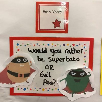 Early Years - Would you rather be Supertato or Evil Pea?