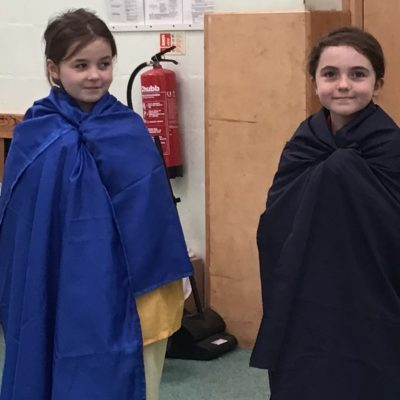 Rose and Maja wearing Roman clothes